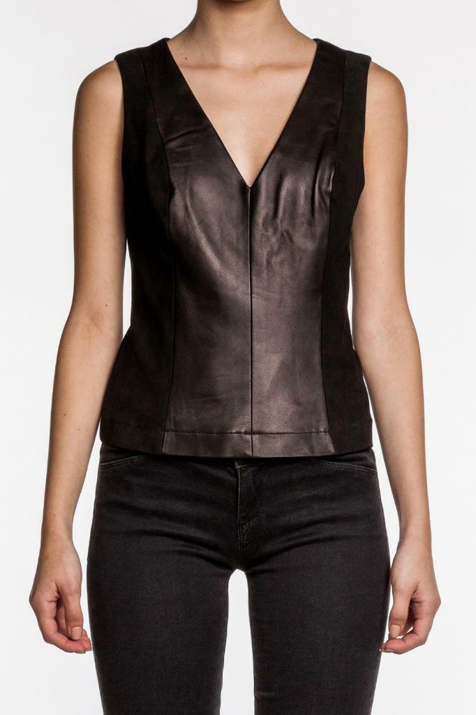 Robert Rodriguez Leather Suede Top schwarz Sleeveless NEW Shirt Vest Tank V neck