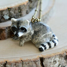 Hand Painted Porcelain Raccoon Necklace, Antique Bronze Chain, Ceramic Animal