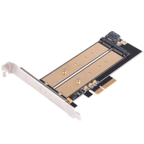 Silverstone ECM22 2xM.2 to PCI-E x4 NVME SSD//SATA Adapter Card to PC w// Cooling