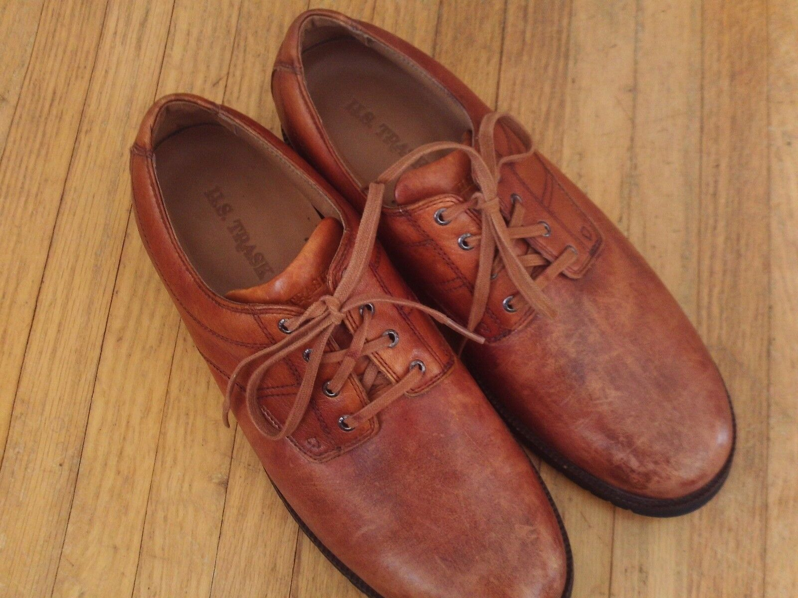 HS Trask Gallatin ES Plain tan bison leather mens 9.5 M oxfords lace up shoes