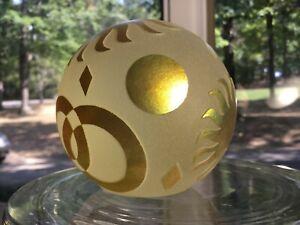 Correia-Glass-Paperweight-Sun-Abstracr-Geometric-Yellow-Iridescent
