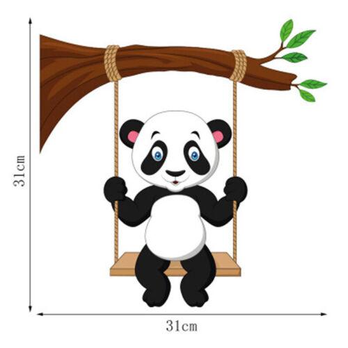 Baby Panda Bamboo Wall Sticker Nursery Baby Room Cartoon Animals Wall Art Decals