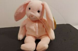 TY 1996 HOPPITY The Pink Rabbit BEANIE Baby with Tags Double I in Original Rare