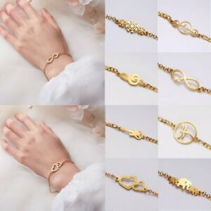 Women-Stainless-Steel-Gold-Chain-Infinity-Love-Bangle-Bracelet-Wedding-Party