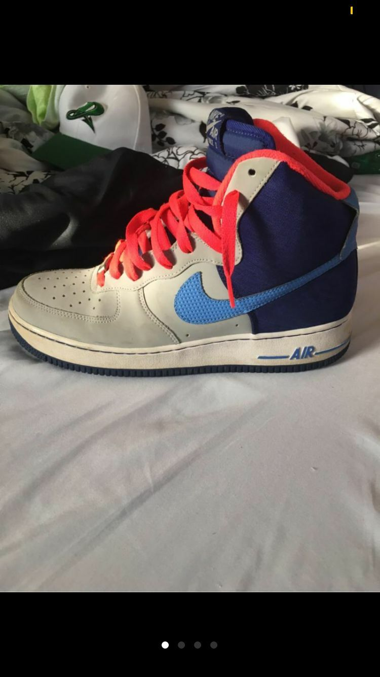 Size 9 1/2 Men's Blue and Grey Airforce 1s