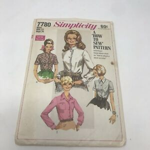 1968 Simplicity Sewing Pattern 7780 Blouse 12 Bust 34 Vintage Stand Up Collar