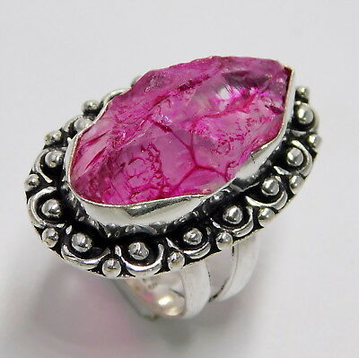 Fashion Jewelry Buy Cheap Pink Quartz 925 Sterling Silver Plated Handmade Jewellery Ring Uk Size-j1/2 Shrink-Proof