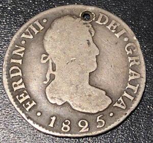 1825-POTOSI-Bolivia-JL-FERNANDO-VII-2-Reales-Silver-SPANISH-COLONIAL-RARE-COIN