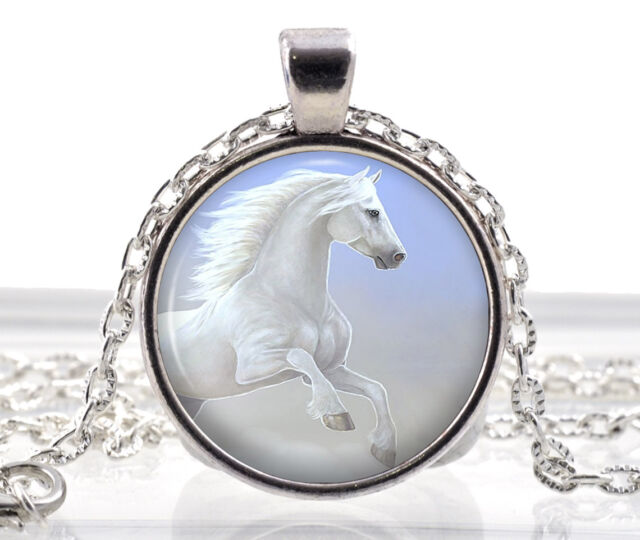 White Horse Necklace Pendant - Silver Gifts for Girls - Little Princess Jewelry