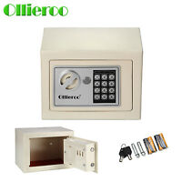 Ollieroo Small Digital Electronic Safe Box Keypad Lock Home Office Safes - White
