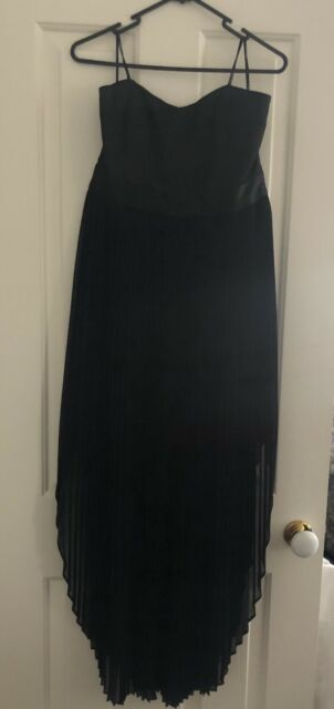 NEW Forever New Midaxi Strapless Dress With Pleat Skirt BLACK SIZE 14