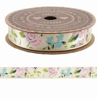 Shabby Chic Vintage Cream Floral Rose Satin Ribbon 5m Wedding Craft Gift Wrap