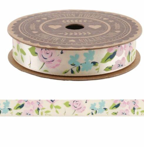 Shabby Chic Vintage Cream Floral Rose Satin Ribbon 5m Wedding Craft Gift Wrap