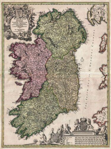 ART PRINT POSTER MAP OLD KINGDOM HOMANN IRELAND EIRE ULSTER HIBERNIA NOFL0691