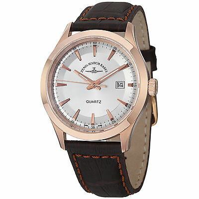 Zeno Men's VintageLine Silver Dial Brown Leather Strap Watch 6662-515QPGR-F3