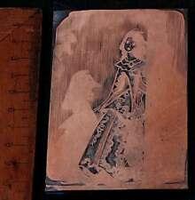 KARNEVAL VENEDIG Galvano Druckstock Kupferklischee Druckplatte Eichenberg DAME