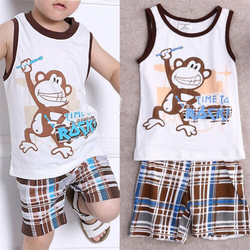 US 2PCS Toddler Kids Baby Boy Clothes Vest Tops+Pants Trousers Infant Outfit Set