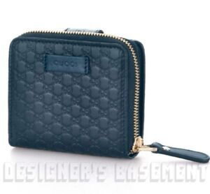 38ac724b048a Image is loading GUCCI-blue-Leather-Micro-GUCCISSIMA-French-zip-around-