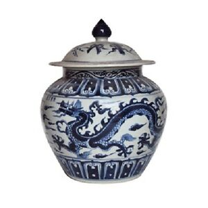 """Beautiful Blue and White Porcelain Ginger Jar Dragon Motif 16"""" with Lid"""