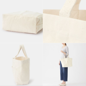 38466f38e New MUJI Organic cotton 14L Large Tote bag Small Pockets Unbleached ...