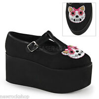 Demonia Click-04-1 Ladies Black Canvas Kitty Cat Felt Platform Mary Jane Shoes