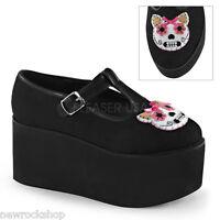 Demonia Click-04-1 Ladies Black Canvas Kitty Cat Felt Platform Mary Jane Shoes
