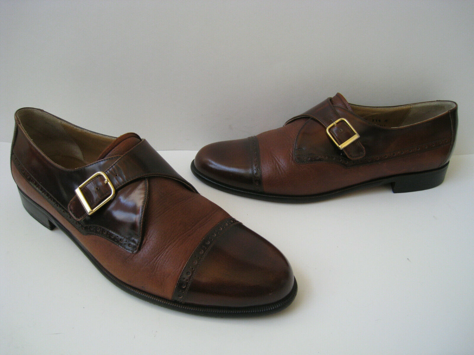 STAMATI MASTROIANNI MONK STRAP COGNAC LEATHER LOAFERS SIZE US 11.5 MADE IN ITALY