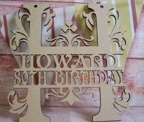Monogram letters names with age Birthday Wedding  Craft Blank Shape