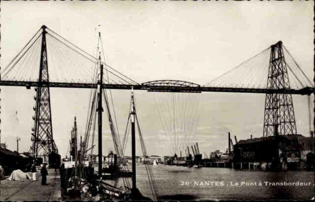 Nantes Frankreich Postkarte CPA ~1940 Le Pont à Transbordeur Brücke Brdigte