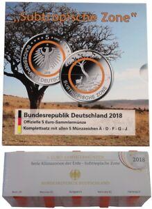 BRD: 5 x 5 Euro Bimetall Subtropische Zone STGL Blister + PP ADFGJ 2018