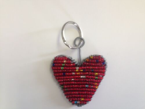 Purple Daisy Heart Great Gift! Grass Roots Beaded Handcrafted NEW Keychains