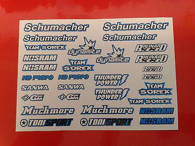 Rc Decal Sheets - Schumacher, Supastox, Touring Car, Mi1, Mi4CXL, Tamiya