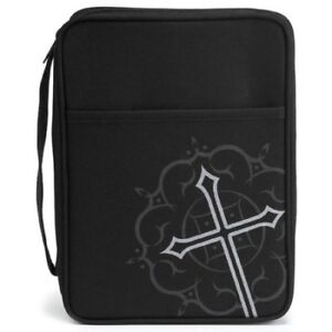 Silkscreened-Cross-Bible-Cover-Black-and-Gray-Large