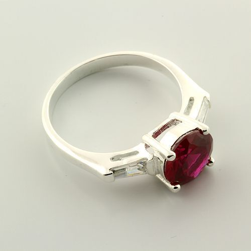 CLEARANCE Sterling Lab Created Ruby Accented Ring Size 7