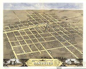 1869 SANDWICH De Kalb County history ILLINOIS map GENEALOGY atlas poster IL 53