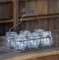 Half Pint Mason Jars In Wire Caddy Home Decor