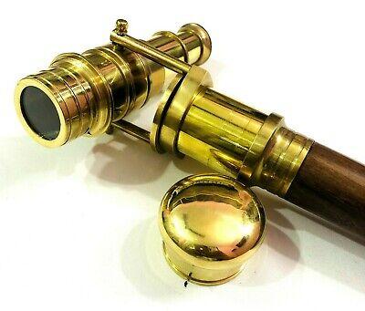Antike Messing schwarz Holz Spion Teleskopgriff Gehstock mit Kompass oben