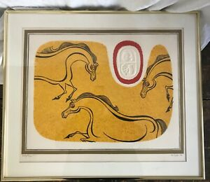 Original Signed De Carlo Mid Century Framed Lithograph HORSES Limited Edition