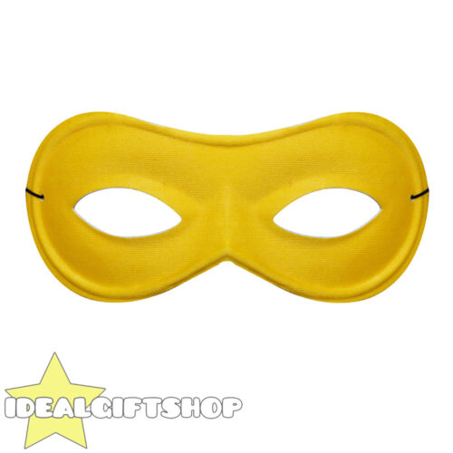 YELLOW EYE MASK BURGLAR SUPERHERO FANCY DRESS COSTUME ACCESSORY