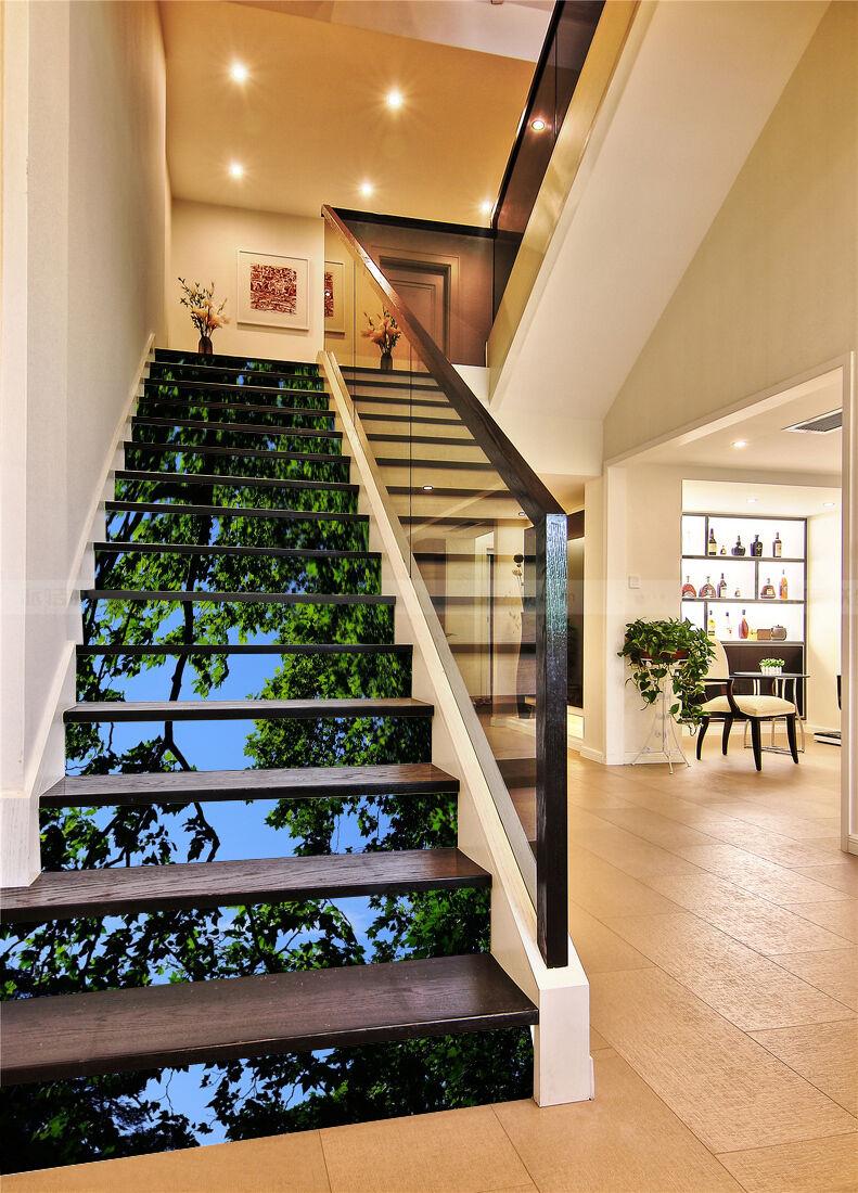 3D Grüner Baum 44 Stair Risers Dekoration Fototapete Vinyl Aufkleber Tapete DE