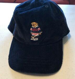 Details about Polo Ralph Lauren Boy s Polo Bear Hat Sz 8-20 NAVY Hockey Cap  Corduroy Baseball 889c5b2b188d