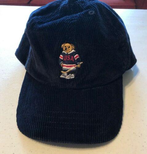 Polo Ralph Lauren Boy/'s Polo Bear Hat Sz 8-20 NAVY Hockey Cap Corduroy Baseball