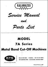 Kalamazoo 7a Series Metal Band Cut Off Saw Service Manual Amp Parts List