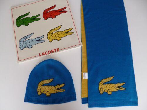Lacoste garçon bleu bonnet /& écharpe Lot Jaune Crocodile Âge 1 2 3 ans NEUF