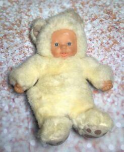 10-Vtg-Simba-Vinyl-Baby-Doll-Bear-Costume-Original-Old-Soft-Toy-Furry-Cream