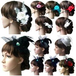 Fascinator Blume Haarblume Mini Hut Kopfschmuck Hochzeit Haarschmuck Party VH10#