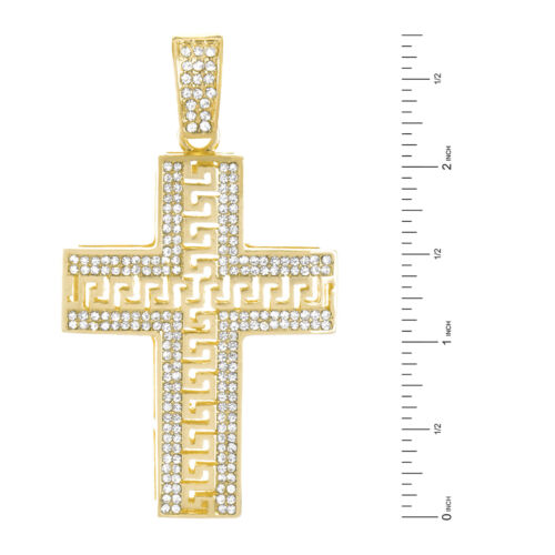 Men/'s Heavy Large Iced Cross Pendant 30 inch Cuban Chain Necklace CH 5113 G