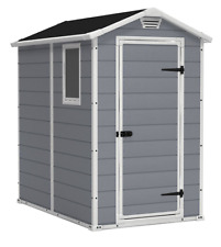 4 X6 Tall Outdoor Storage Shed Plastic Lawn Mower Furniture Garden Tools Box
