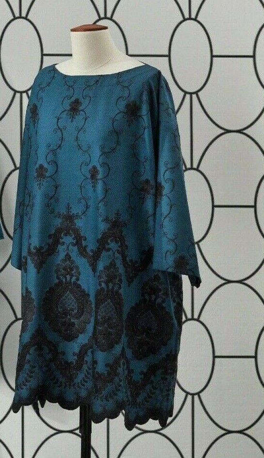 NWT Eskandar TEAL Wolle Eyelet Embroiderot  36  Lange Tunic oben (1)  1295
