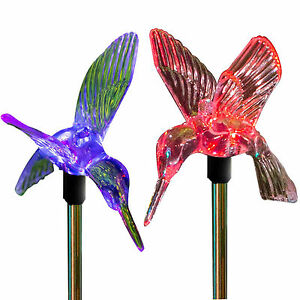 Charmant Image Is Loading Solar Power Hummingbird Garden Stake Set Of 2